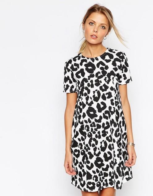 ASOS Swing Dress in Textured Animal Print $28.22