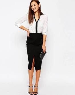 ASOS Split front black skirt $36.00