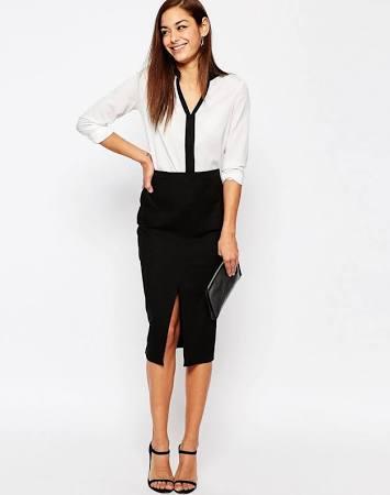 ASOS Split front black skirt $36.00