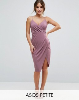 ASOS PETITE Slinky Midi Dress with Wrap Skirt 38.00 dollars