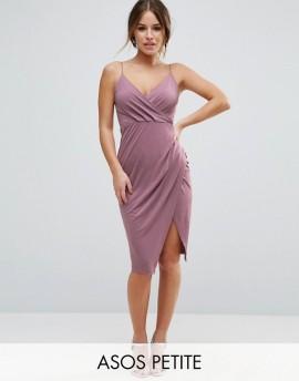 ASOS PETITE Slinky Midi Dress with Wrap Skirt 38.00 dollars